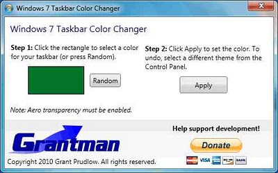 Windows 7 Taskbar Color Changer - Cambia el color de la barra de tareas de Windows 7