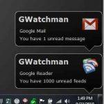 GWatchman Notificación de alertas en el escritorio para GMail / Google Reader