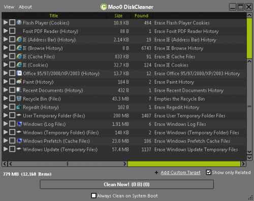 Moo0 DiskCleaner - una alternativa a Ccleaner