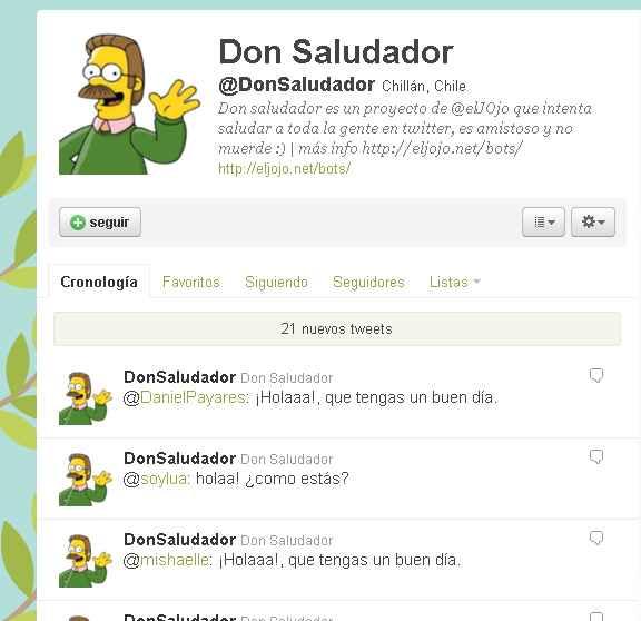 Don Saludador - recibe saludos automáticos a través de Twitter