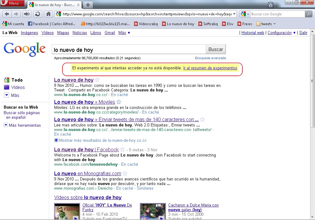Vista previa instantánea de Google no funciona en Opera