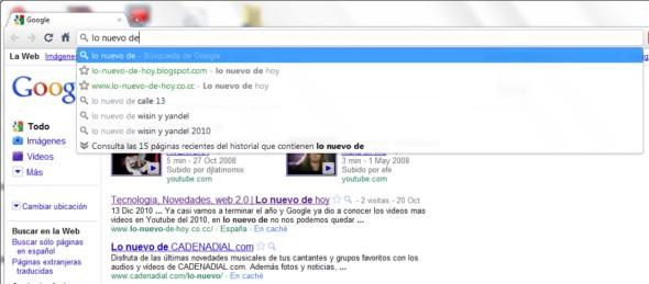 búsqueda instantánea  desde la barra de direcciones en Chrome