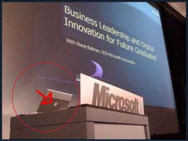 Humor: Usando una Apple en una presentación de Microsoft