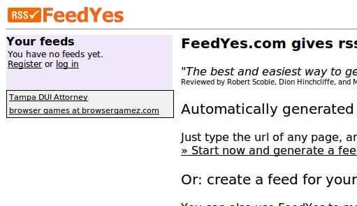 Feedyes – crear canales rss cuando el sitio no lo permite