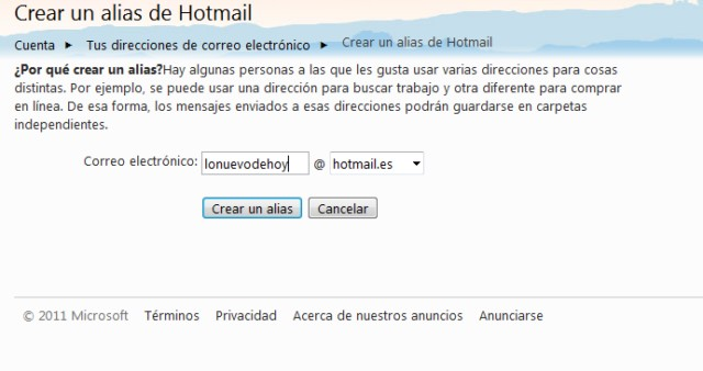 crear alias en hotmail