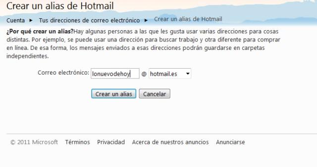 crear alias en hotmail