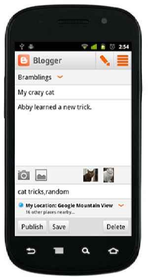 aplicación de blogger para Android