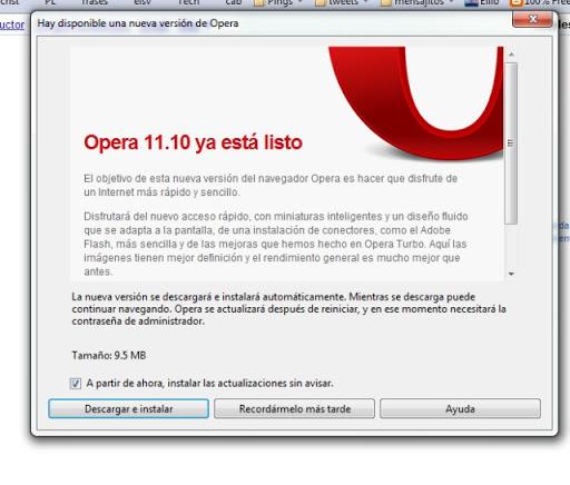 Cómo actualizar Opera de Forma manual
