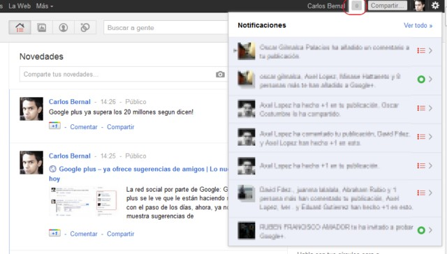 notificaciones en Google+ plus
