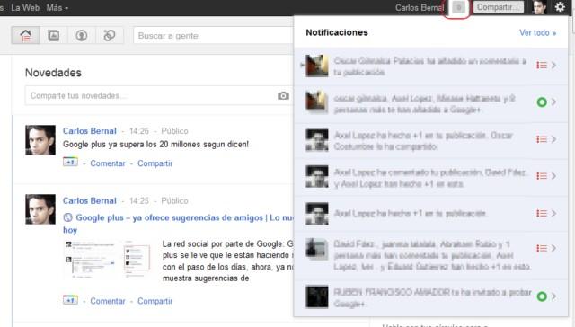 notificaciones en Google+ plus