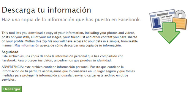 descarga tus datos de Facebook