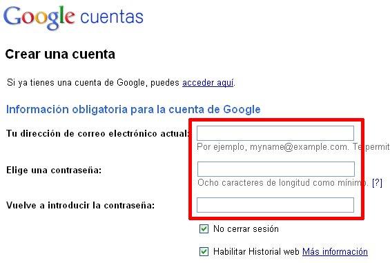 Registrarse en Google