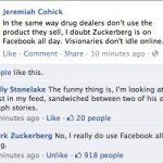 Mark Zuckerberg usa Facebook todo el dia