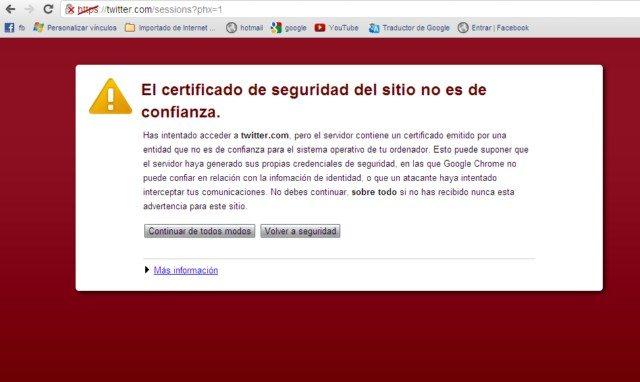 El certificado de seguridad del sitio no es de confianza