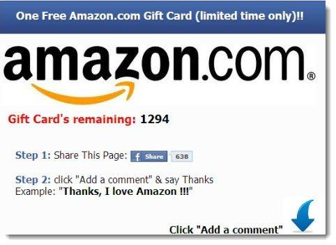 Gift card de Amazon falso en Facebook