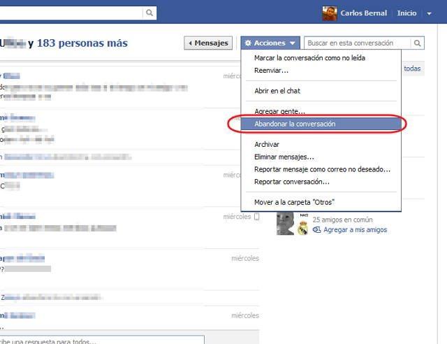 dejar una conversación en facebook