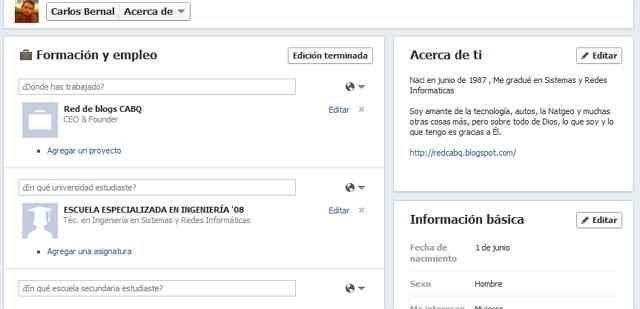 actualizar tu información en Facebook