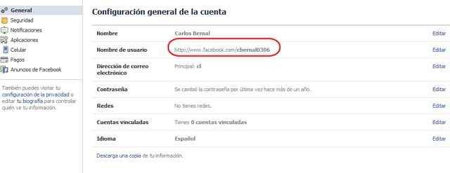cambiar el nombre de usuario en Facebook