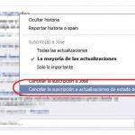 Cancelar las suscripciones en Facebook de una persona