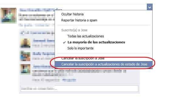 Cancelar las suscripciones en Facebook