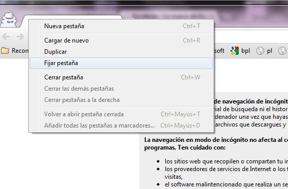 Fijar pestaña en Chrome