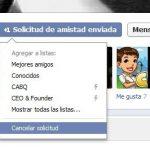 Cancelar una solicitud de amistad en Facebook enviada