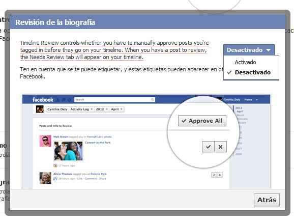 Activar revision de etiquetas en Facebook