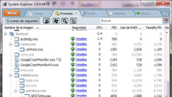 System Explorer: procesos