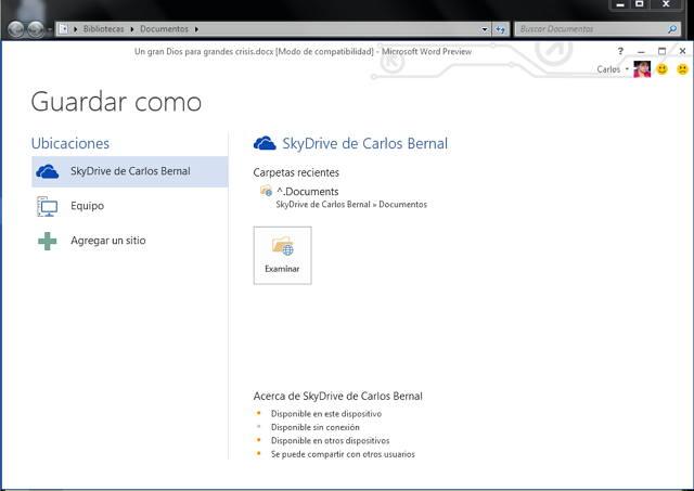Guardar archivos en Skydrive con Word 2013