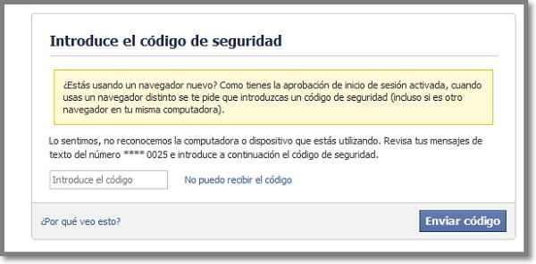 facebook codigo de seguridad