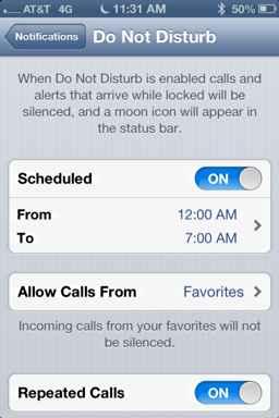 Programar no molestar iOS 6