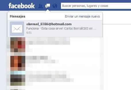 Correo a  facebook desde outlook