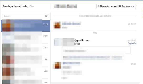 Correo desde gmail a facebook
