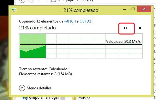 pausar una copia en windows 8