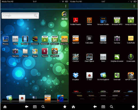 Adw launcher EX en el kindle fire hd