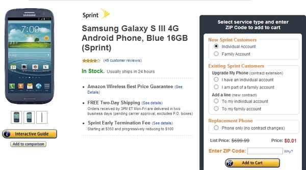 Galaxy S3 oferta  Amazon Wireless