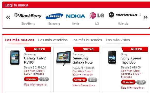celulares claro argentina online