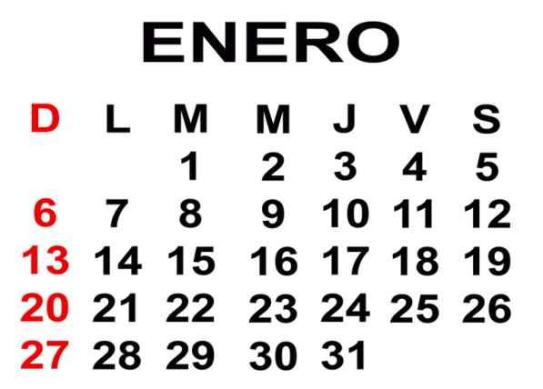 mes de enero 2013 calendario