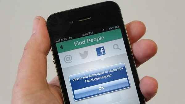 vine no puede acceder a facebook
