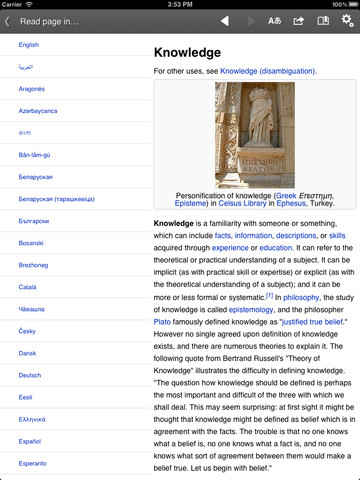 wikipedia en el ipad