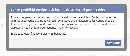 facebook bloqueo de 14 dias