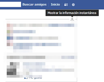 mostrar informacion instantanea facebook