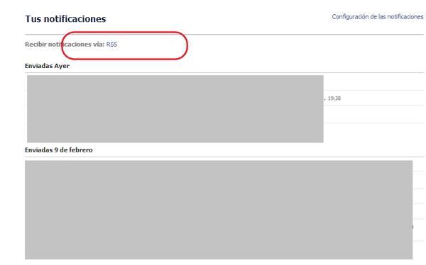 notifiaciones RSS en facebook