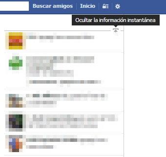 ocultar informacion instantanea facebook