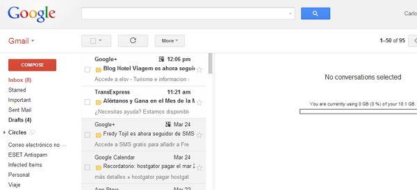 Gmail 2013 interfaz