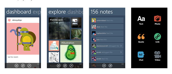 Tumblr para windows phone