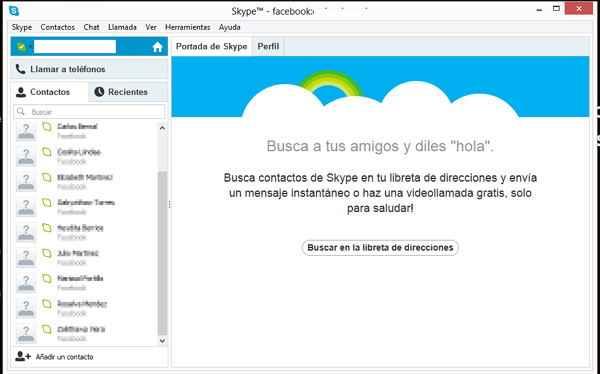 chat de facebook desde skype