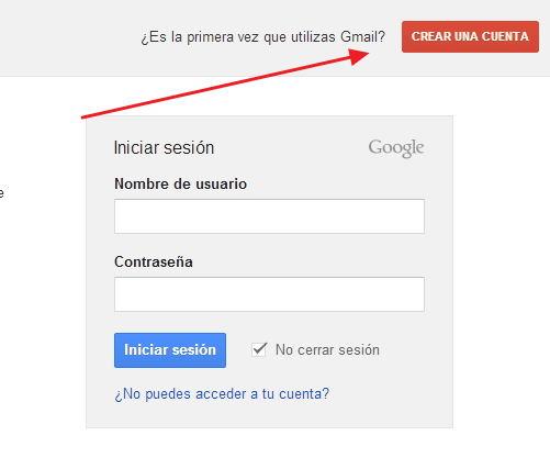 crear Gmail cuenta