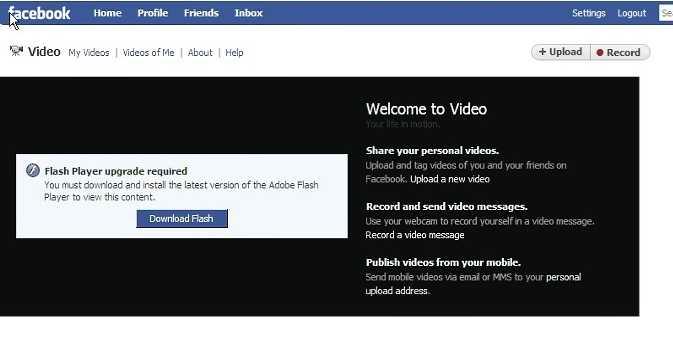 facebook flash player requiere ser actualizado
