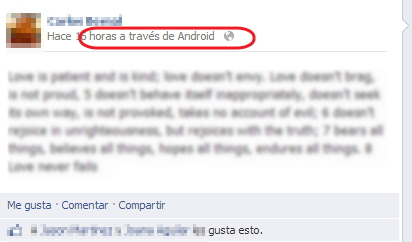 a travez de facebook para android
